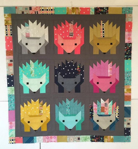 Hazel the Hedgehog Quilt Kit (Cotton + Steel, Solids, Baby Quilt, Elizabeth Hartman, Oh Fransson)