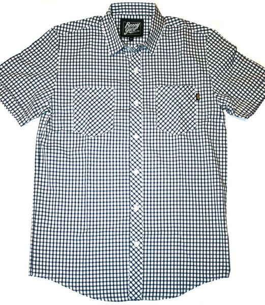 Benny Gold - Windowpane Check S/S Button-Down Shirt (Navy) available now at www.petalumasupplyco.com: Check Shirt