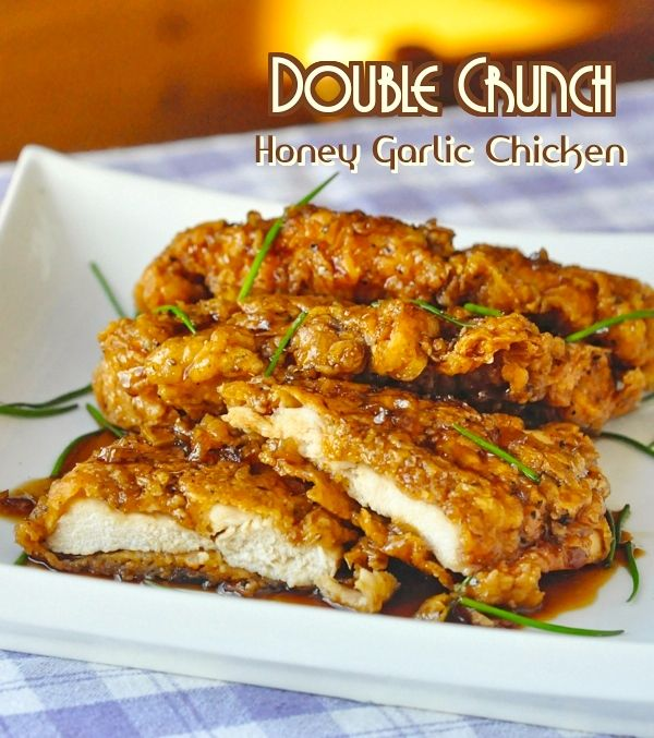 Double Crunch Honey Garlic Chicken Breasts - Super crunchy, double coated chicken breasts get dipped in the best ever honey garlic sauce before serving.