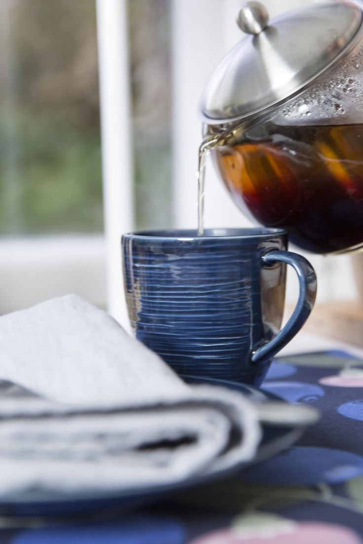 Usva Mug | Pentik | The dark blue Usva mug takes your mid off to summer nights. Perhaps you will sip your evening tea from this mug as the summer night mist is rising over the meadows. Our ceramic mugs are very durable, and they are made in Finland.