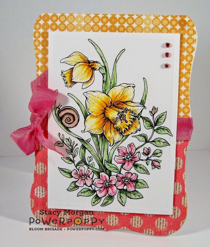 Twinshappy: Spring time are you ready? Dancing with Daffodils digital stamp set by Power Poppy, card design by Stacy Morgan.