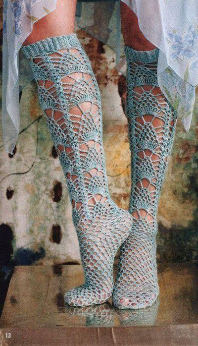 Calzini di pizzo all'uncinetto - lacy crochet socks - chart (1/2) (hva)