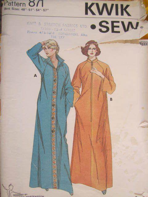 "SeeSallySew.com - Ladies' Robe Nightwear Coverup Vintage Kwik Sew 871 Pattern Sz. 48"" - 57""  , $10.00 (http://stores.seesallysew.com/ladies-robe-nightwear-coverup-vintage-kwik-sew-871-pattern-sz-48-57/)"