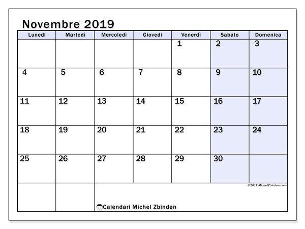 Calendario Annuale Da Stampare 2019.Calendario Novembre 2019 57ld Calendario2019