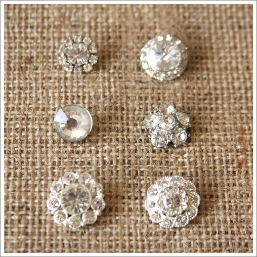 Rhinestone on Silver Button Set | A Gilded Life, for vintage inspired art supplies, classes, and craft kits.