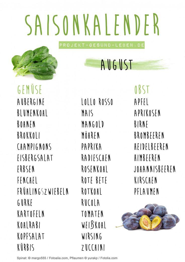 Saisonkalender 08 August Projekt Gesund leben