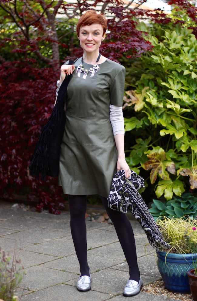 Fake Fabulous | Green leather dress, silver boden loafers and black suede tassel Topshop tote | Spring Style