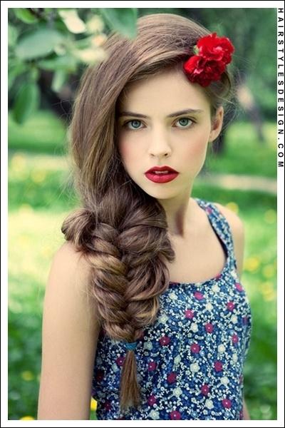 Fish Tail with FlowersBig Braids, Red Flower, Long Hair, Longhair, Hair Makeup, Red Lips, Fishtail Braids, Hair Style, Side Braids