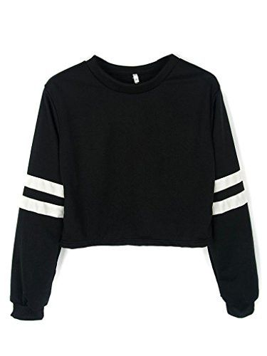 Our size is Asia size,not US/UK size. Please check product description before ordering to ensure accurate fitting Material: 62%Polyester+38%Cotton Fashion sweatshirt featuring contrast stripes on slee