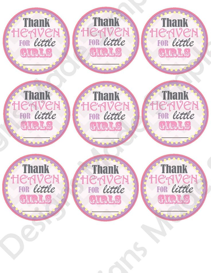 Baby shower drink or favor tags thank heaven for little girls customizable printable baby for Printable baby shower favor tags