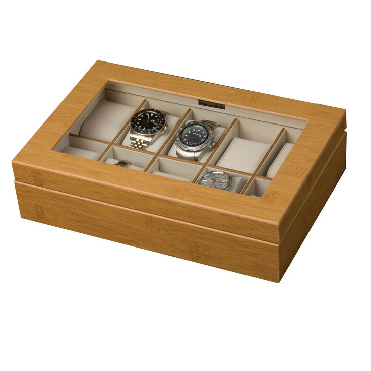 Mele & Co. Logan Glass Top Wooden Watch Box in Bamboo By Mele & Co