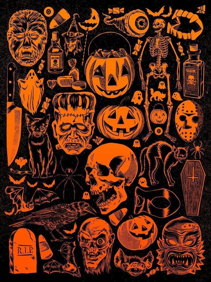Vintage Halloween Wallpaper Costumes In 2020 Halloween Artwork Vintage Halloween Halloween Illustration