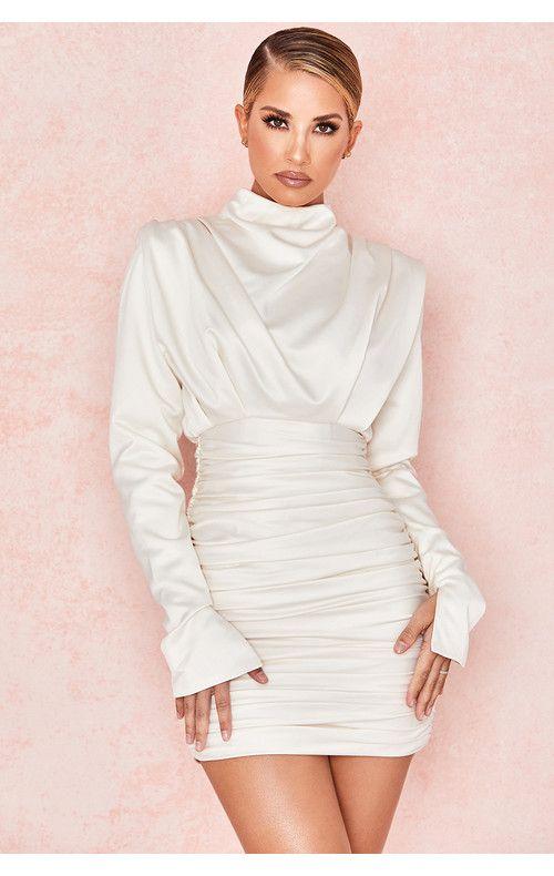 ca32b52b1be Clothing : Bodycon Dresses : 'Giorgiana' Ivory Satin Draped Mini Dress