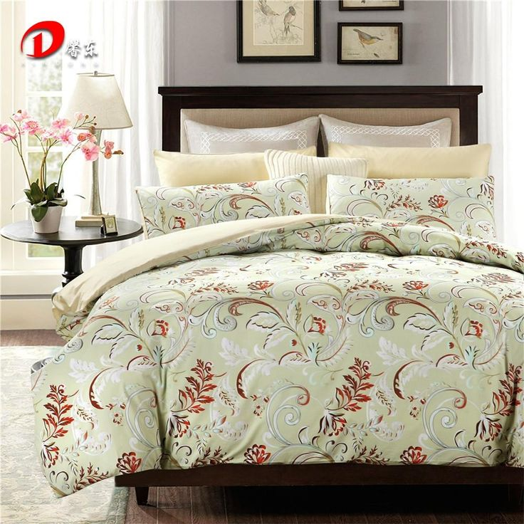 floral satin bedding set luxury egyptian cotton bed set king queen size high quality light green