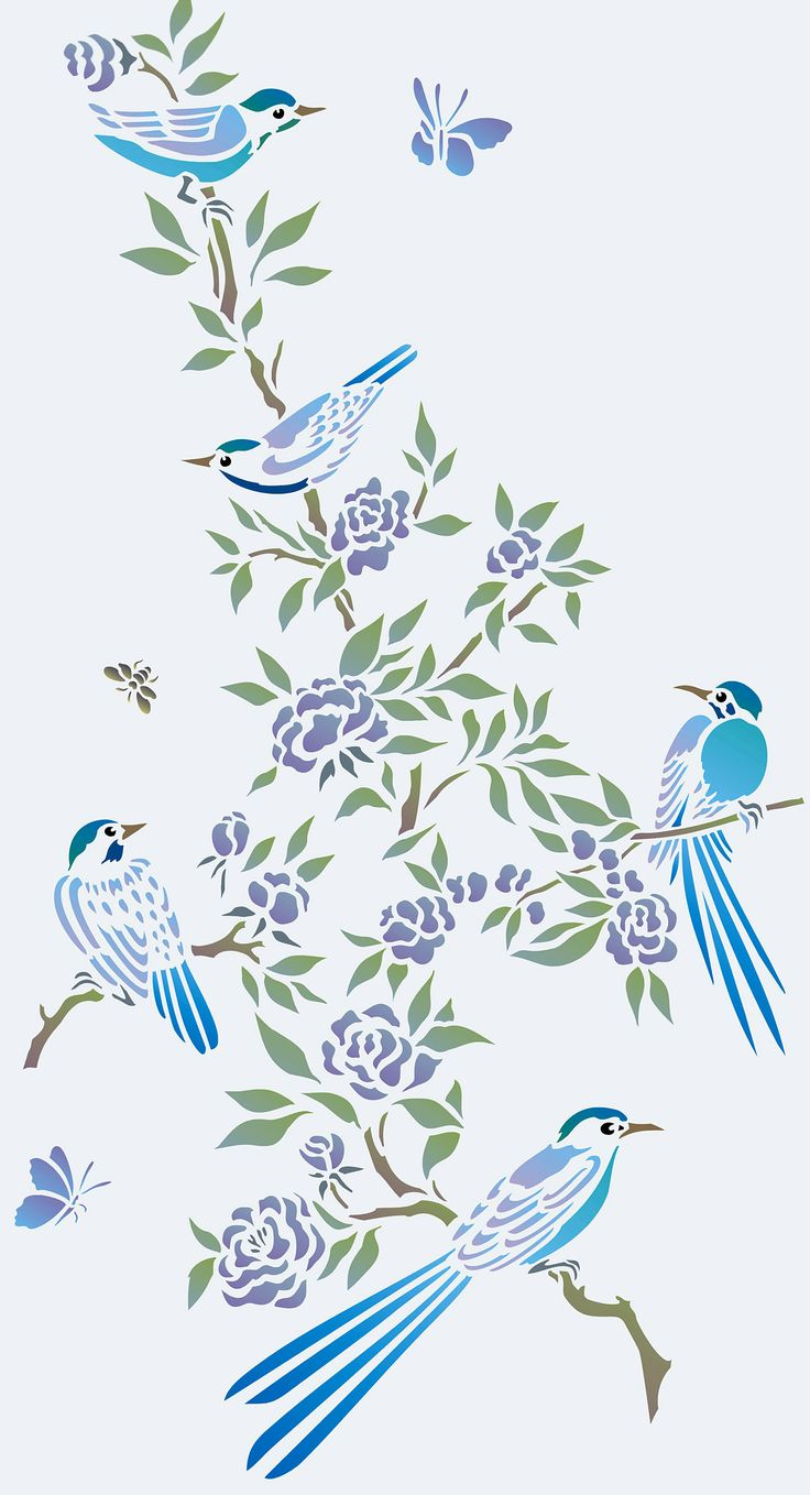 Charming small chinoiserie stylebirds and blossom flowers 2 sheet stencil The Birds and Blossom Stencil is a two sheet stencil with five delicate little birds shown nestling on flowering branches and twigs. Ideal for stencilling on fabrics, clothing, cushions, cards and as chinoiserie motifs on w