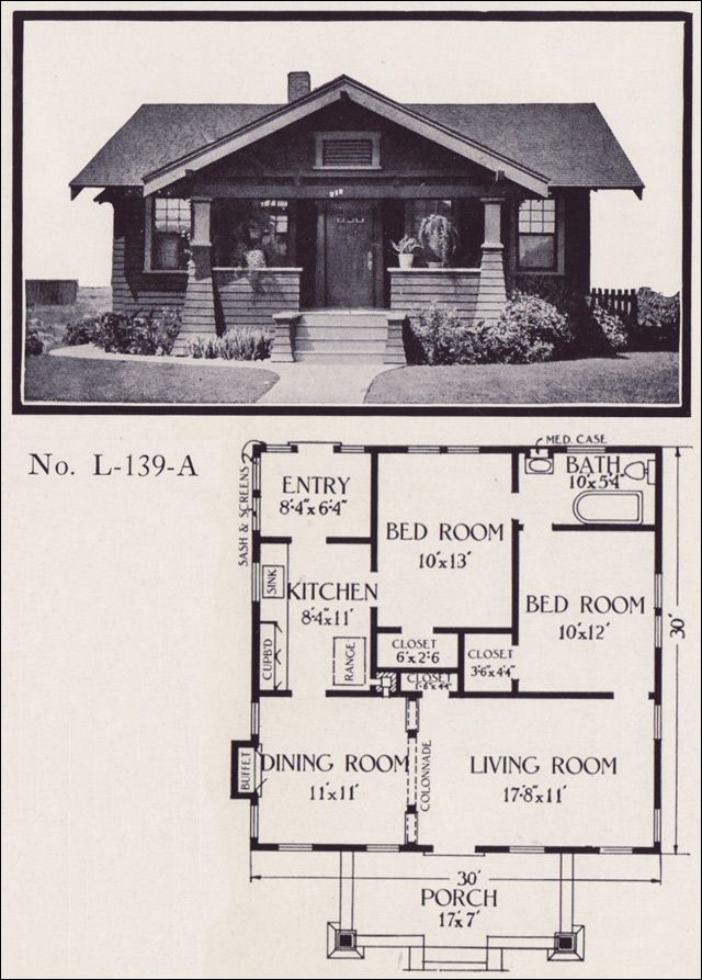 1922 California Bungalow plan by E.W. Stillwell & Co. I love bungalows that have a completely symmetrical front, and a great front porch with a solid looking front door. Love the little back entry room, off the kitchen - could be used as a breakfast nook. And it's only 30' x 30', with no upstairs, so only 900 square feet. I <3 it! I would make a few changes but I love the layout.