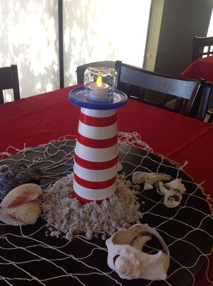 Lighthouse Centerpieces: Shower Ideas, Lighthouses Centerpieces, Birthday Parties, 1St Birthday, Parties Ideas, Holiday Crafts, Nautica Anniversaries, Marlenni Baby, Baby Shower