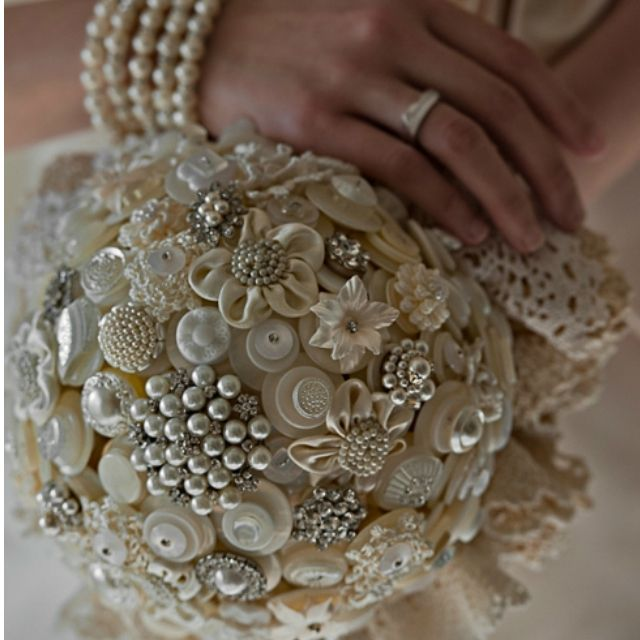 Adore this. I have my grandmother's old jewelry & buttons. What a great idea for a bouquet or decorative ball.
