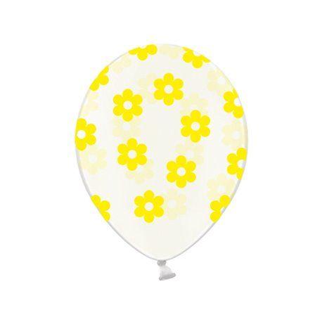Ballonger - Klar med Blomster i Gul - 6 stk