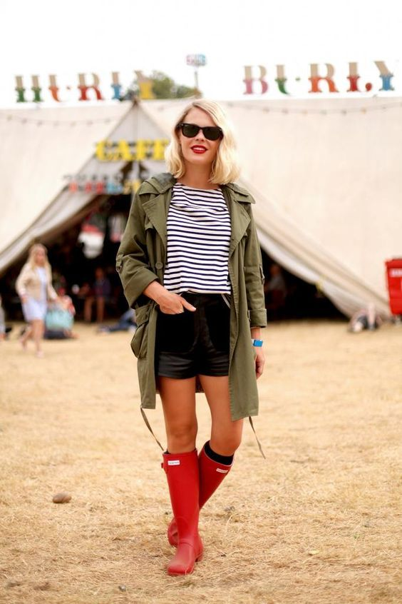 Festival Style: Latitude Festival with Hunter Boots making rain boots look cool: Stripes Rainboots