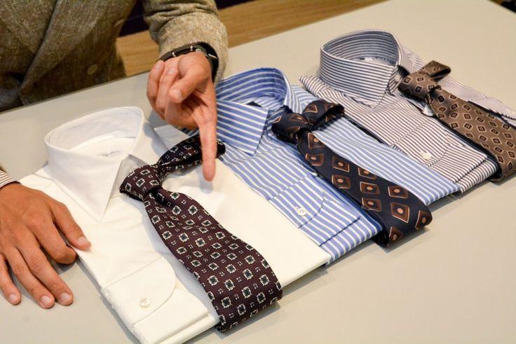 """シャツの襟型、ボディの色柄、ネクタイのカラーバリエーションと、ジャケットのVゾーンを構成する""""シャツ&タイ""""もそろそろ秋冬模様にチェンジのとき。メンズ館1階=ドレスシャツ・ネクタイのバイヤー佐藤"""