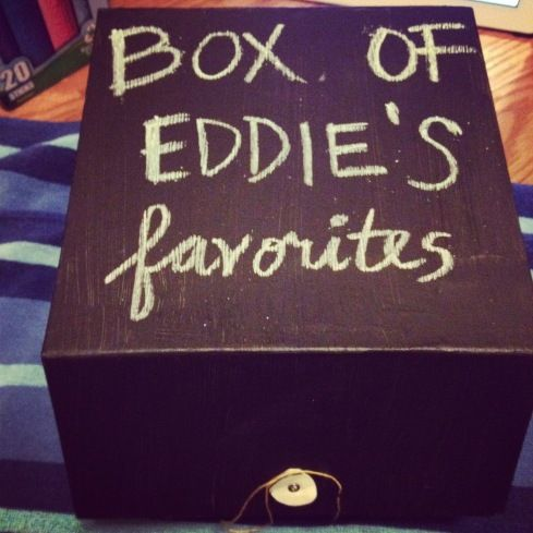 Unique DIY Birthday Gift Idea! Paint a box with chalkboard paint and fill it with the receivers favourite things