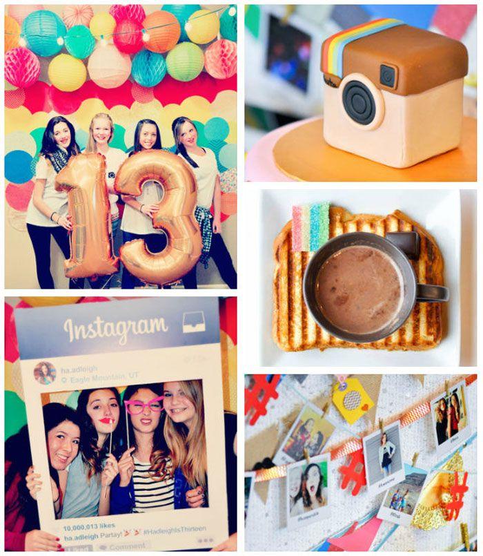 Glam instagram themed 13th birthday party via kara 39 s party for 13th birthday party decoration ideas
