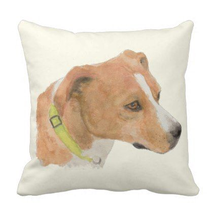 Thelma Boxer Beagle Mix  Watercolor Throw Pillow - watercolor gifts style unique ideas diy