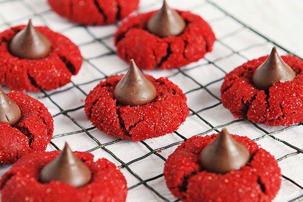 Red Velvet Peanut Butter Blossoms #baking #cookies #christmas