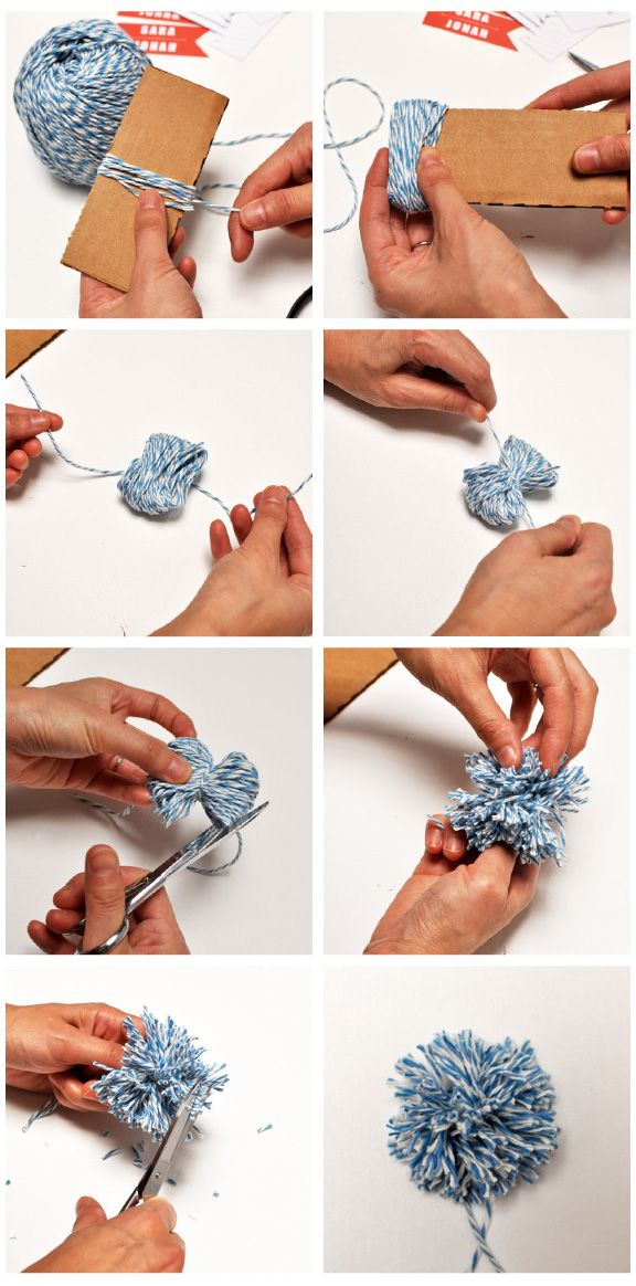 Yarn Pom Pom DIY Project. Could also use tulle, felt, tissue paper, etc for different effects.  Hang from trees or just spread out on ground