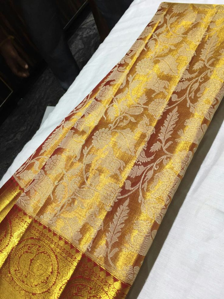 Pure Kanchipuram Handloom Silk saree with full gold body and fancy white design Allover body Order what's app 7093235052 Price :14000+shipping