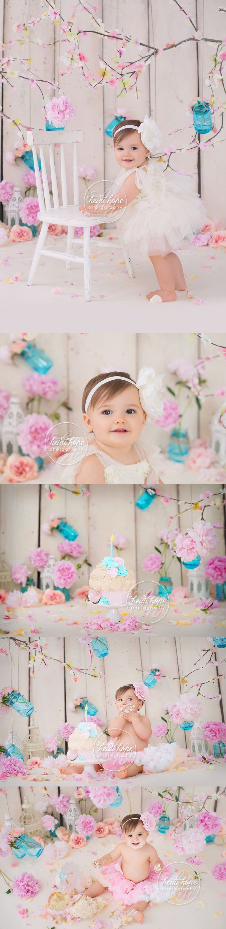 first birthday cakesmash shabby chic with flowers and outdoor family portraits2