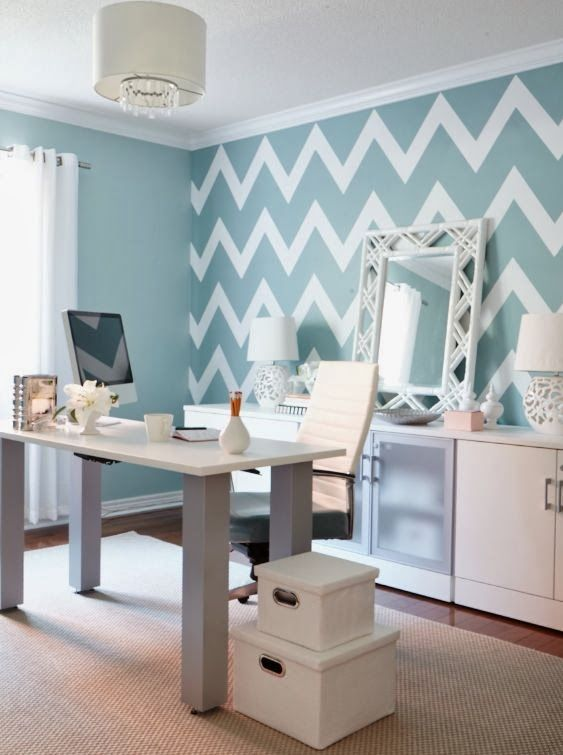 Interior Designer Jo Alcorn Whitewash U0026 Co Home Office Chevron Wall Blue:  Photo, Sian Richards.