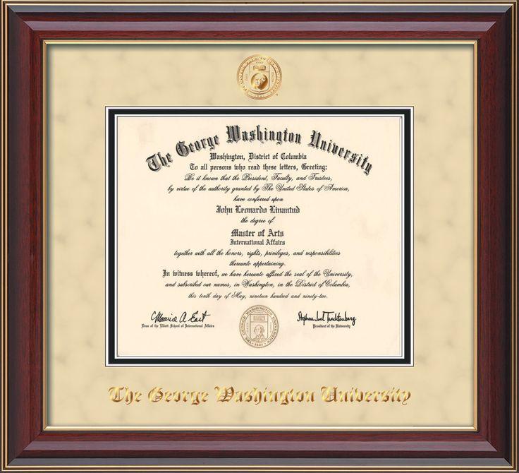 54 best George Washington University - GWU - Diploma Frames - george washington resume