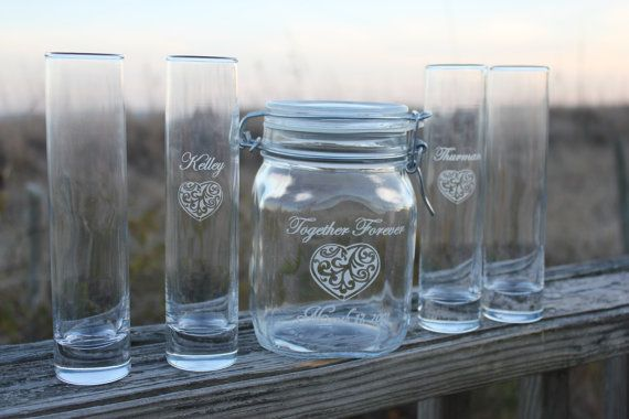 Six Piece Unity Sand Ceremony Set Unity Jar And 5 Pouring Vases Jars Wedding And Los Angeles
