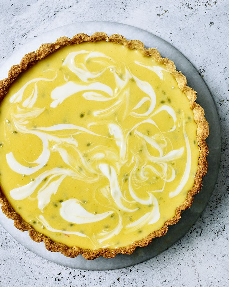 lemon, lime and passionfruit cheesecake tart