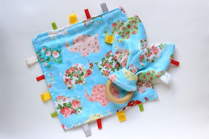 Elephant baby gift, Taggie blanket, Baby Comforter set, Bunny teether, Elephant taggie, Baby lovey, Unisex baby gift, Sensory blanket by…