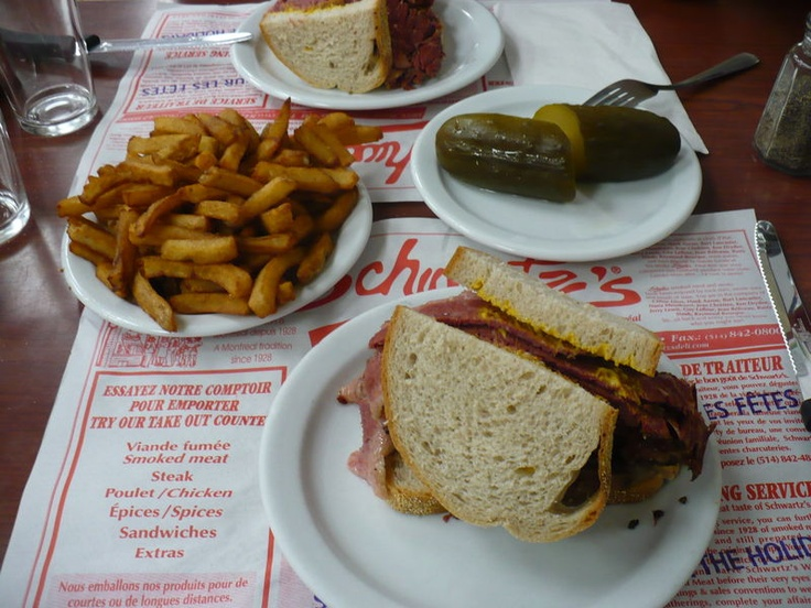 One of the things I miss about Montreal- Smoked meat, fries and pickles from Schwartz's Deli
