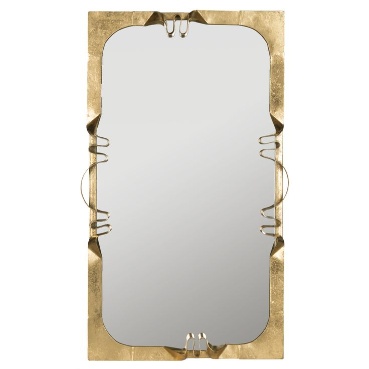 Safavieh 22-in x 38-in Antique Gold Polished Rectangle Framed Contemporary Wall Mirror
