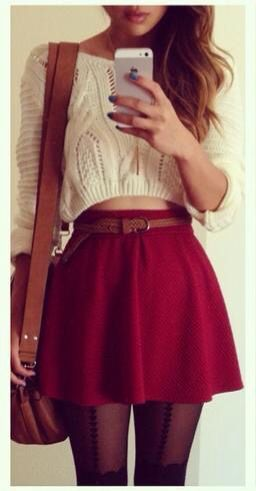 cropped sweater w skirt