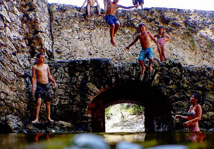 <b>Suwannee Springs</b><br> 9225 CR 49, Live Oak | Distance: 2 hours and 30 minutes<br> This historic spring is surrounded by the walls of a late 1800s bath house made out of limestone rock. Since sand is building up in the pool, which trickles into the Suwannee River, you just might find yourself kickin' it on a secret sandbar if you float around for long enough.<br> <br> Photo via floridajah/Instagram