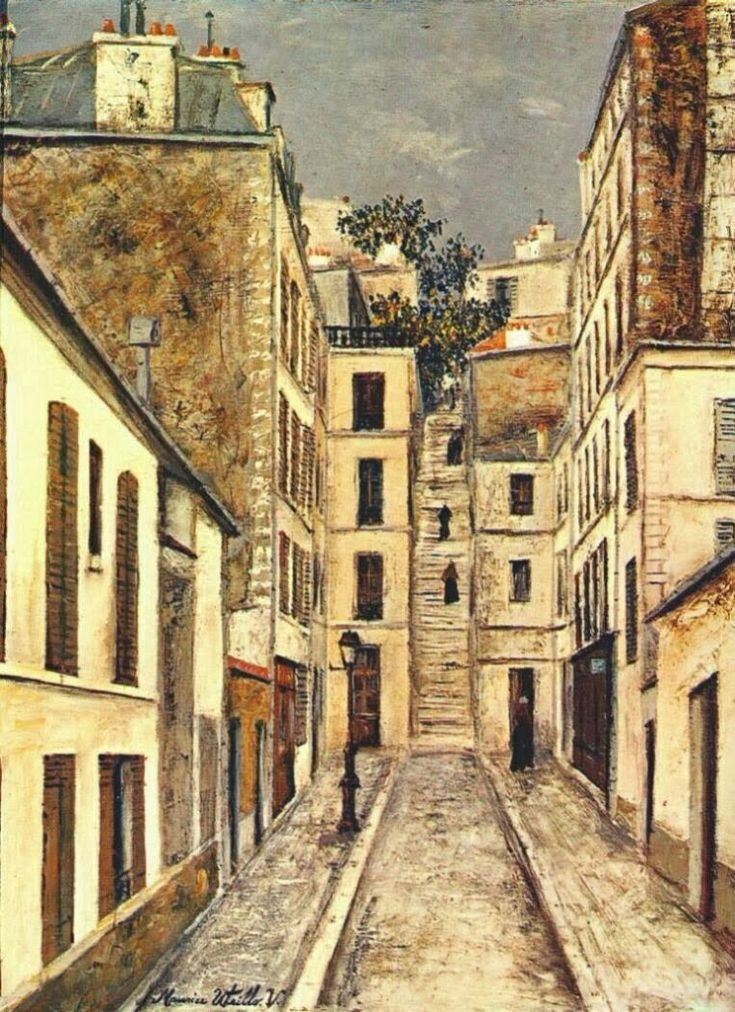 Le passage Cottin par Maurice Utrillo, en 1910  (Paris 18ème)