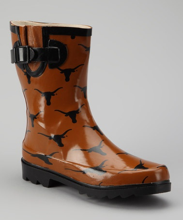 Black Orange Texas Longhorns Rain Boots - Women by Collegiate Footwear on zulily
