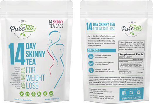Amazon.com: PureTea Skinny Tea - Weight Loss Tea, Diet Tea, Detox Tea, Body Cleanse, Reduce Bloating, Suppress Appetite, Weight Loss Tea For Women, Teatox, Best Way to Lose Weight Fast, Green Tea (14 Day): Health & Personal Care
