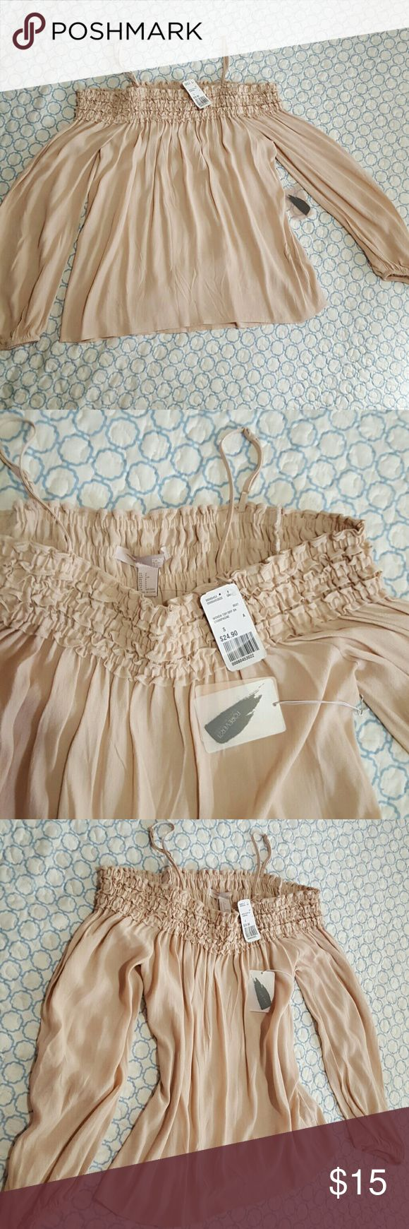 F21 Off-Shoulder blouse Small Brand new, gorgeous champagne colored blouse. Forever 21 Tops Blouses