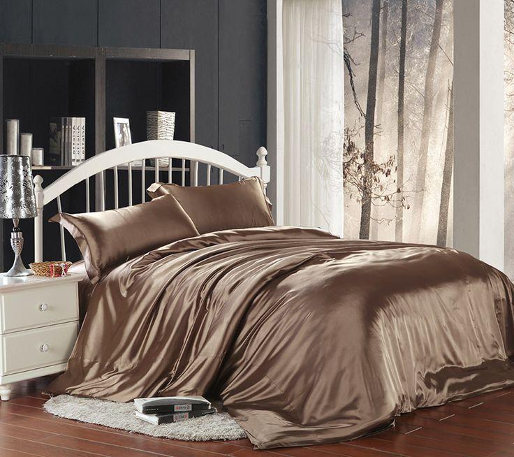 pure enjoyment light coffee silk bedding silk duvet cover set