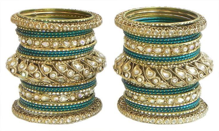 Two Sets of Cyan with Golden Kundan Bangles (Metal)