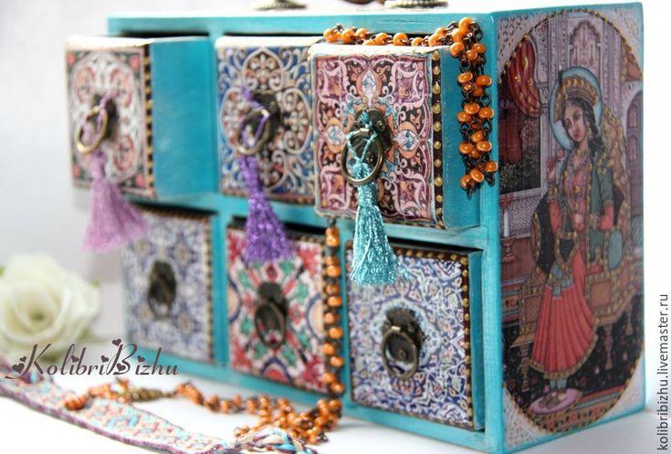 Купить Комодик в восточном стиле - бирюзовый, индия, индийский стиль, комод, комодик, комодик для украшений