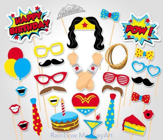 Superhero Birthday Photo Booth Props di RainbowMonkeyArt su Etsy