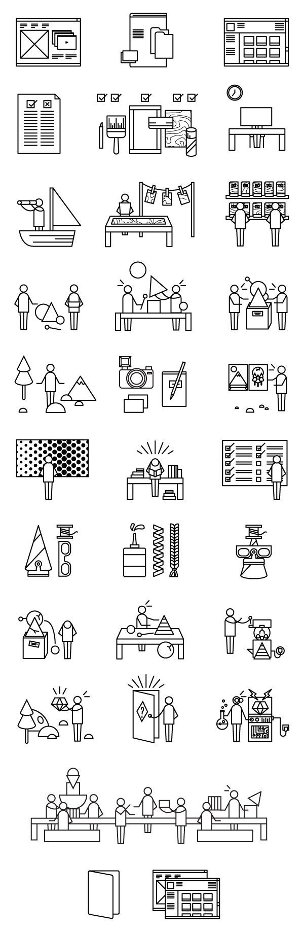 Destination: Play Guide Book Icons by Ella Zheng, via Behance: